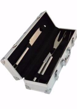 kit churrasco com 3 peças de inox, maleta de alúminio