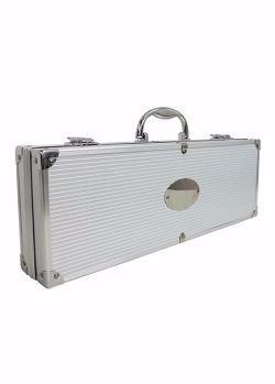 kit churrasco com 5 peças de inox em maleta