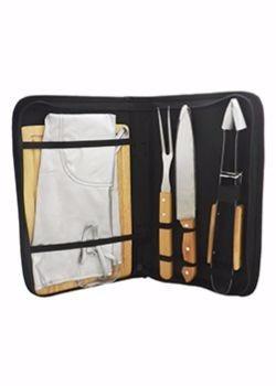 kit churrasco com avental e 4 peças, em estojo sintético