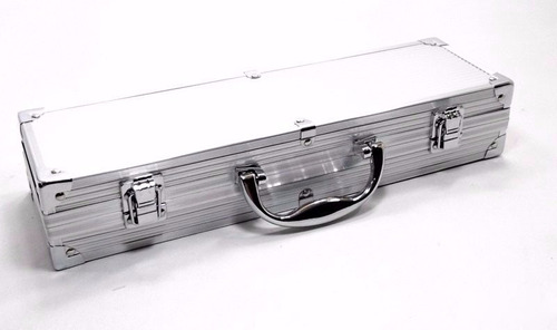kit churrasco maleta box inox alumínio com 4 peças