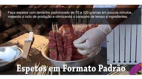 kit churrasco maquina para formar espetos - p/36 espetinhos