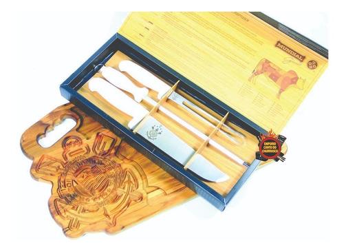 kit churrasco tabua corinthians +kit faca chaira garfo timao