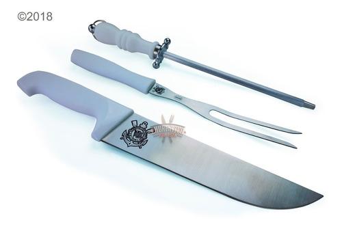 kit churrasco tábua de carne gourmet + faca, garfo e chaira.