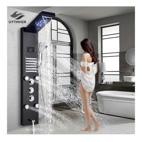 kit chuveiro contemporânea luxo led importado