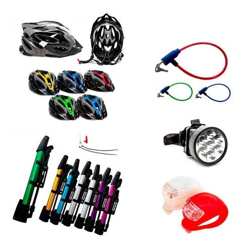kit ciclismo bike capacete+lanterna+farol+cadeado+bomba