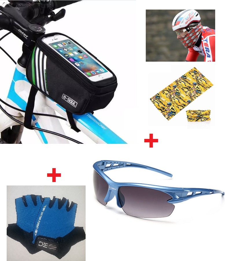 f9c4a2470 Kit Ciclismo Óculos Sol Uv Luva Gel Bolsa Tube Neck - R  159