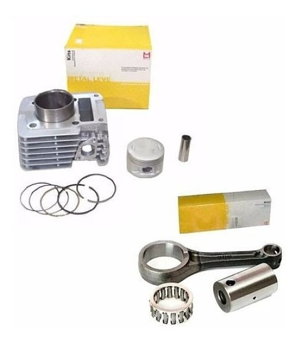 kit cilindro + biela xtz 125 ybr factor ybr125 metal leve