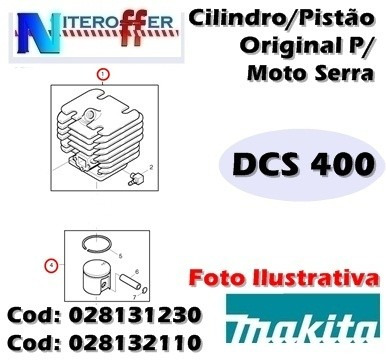kit cilindro + pistão original moto serra dcs 400 makita