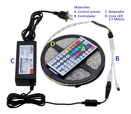 kit cinta led rgb multicolor con adaptador y control x 2,5mt