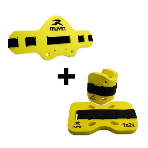 kit: cinto + caneleira para hidroginástica- amarelo - muvin