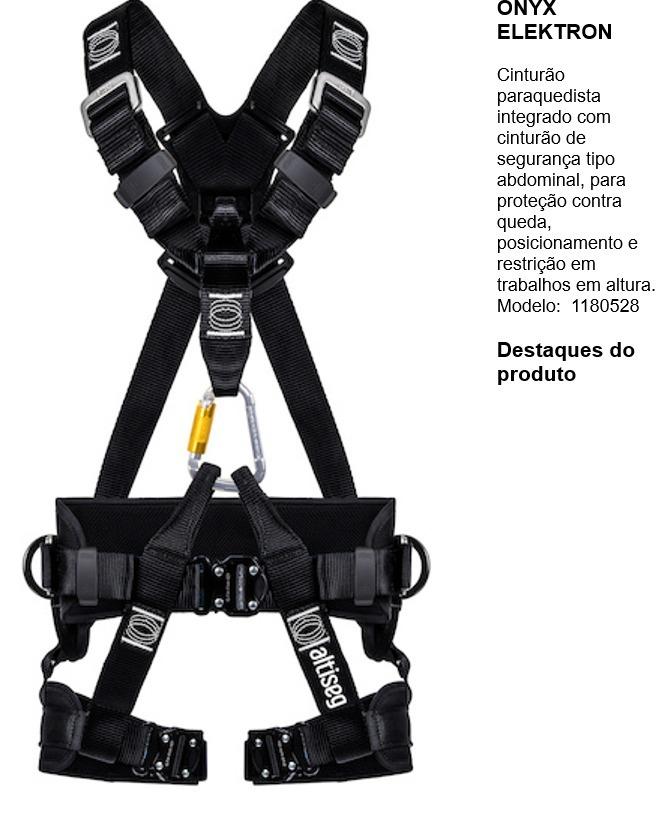bafbf7ba045bd Kit Cinto Telecom Altiseg Onyx + Talabarte + Capacete - R  550
