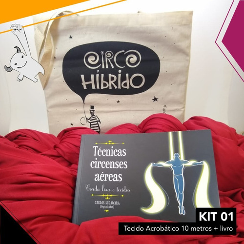 kit circo 01 - tecido acrobático 10 metros + livro