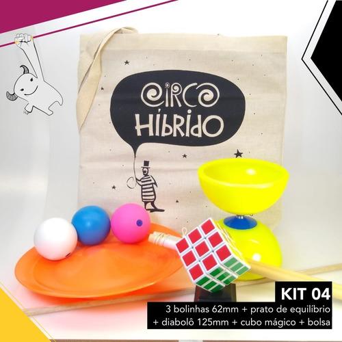 kit circo 4 - bolinhas + prato + diabolô 125  + cubo