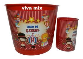 6c04417525ed5a Kit Circo Balde De Pipoca Grande 2 Litros+cofrinho 40 Itens