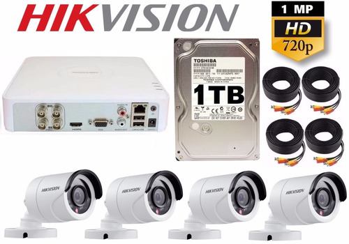 kit circuito cerrado 4 cámaras hd cctv hikvision 1 tb