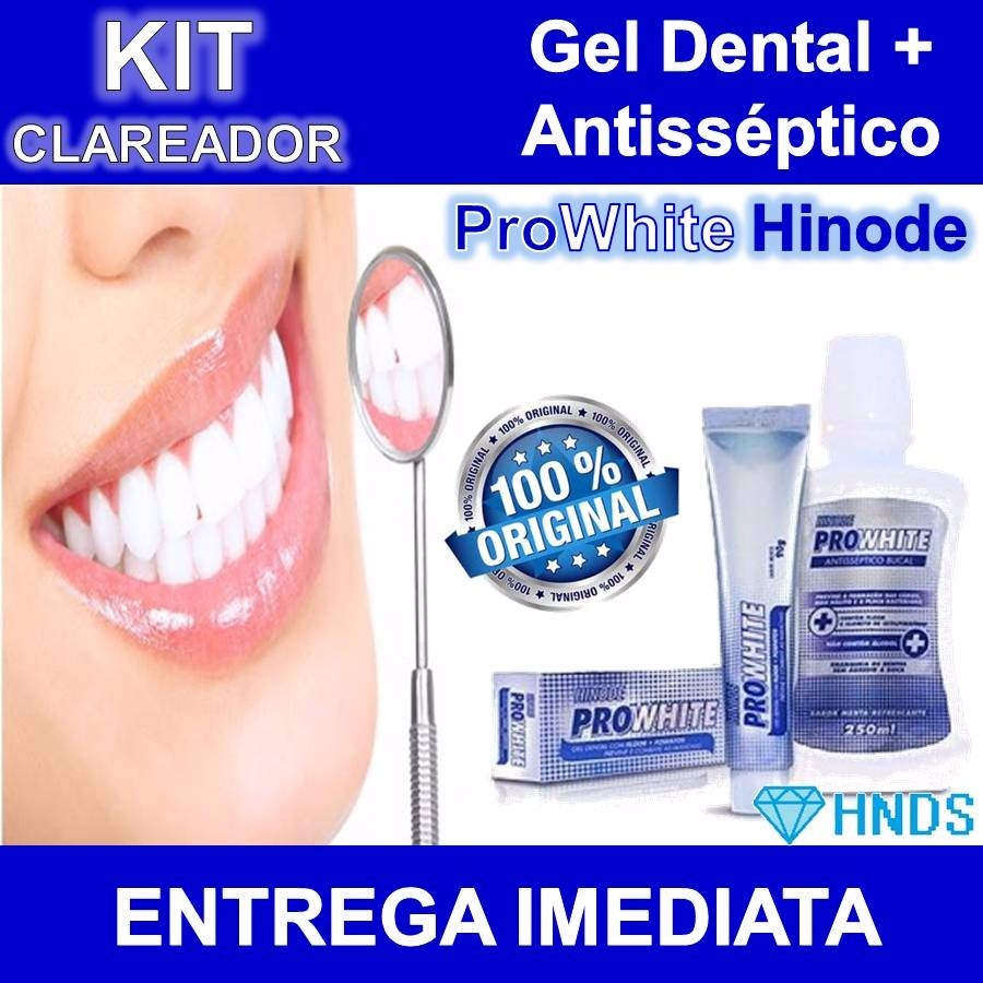 Kit Clareador Creme Gel Dental Antisseptico Prowhite Hinode R 33