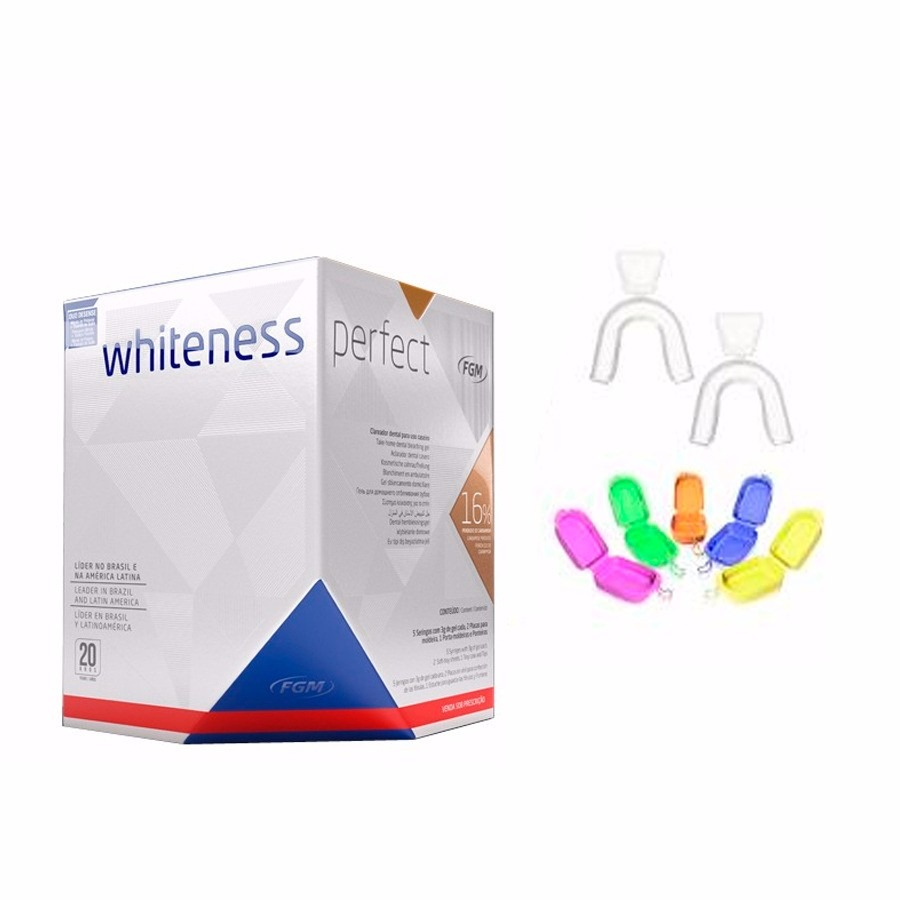 Kit Clareamento Dental Caseiro Whiteness 16 Com Moldeiras R 96