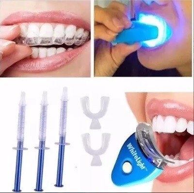 Kit Clareamento Dental Com 4 Sering Gel Par Moldeira Led R 45
