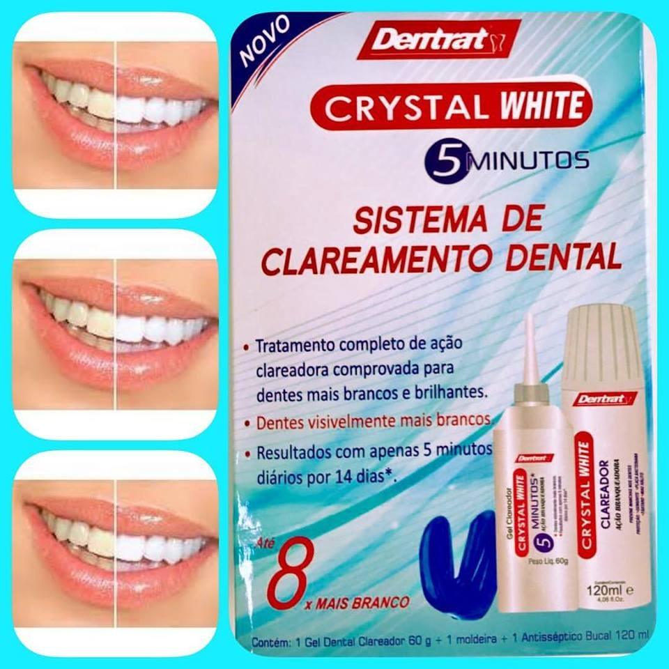 Kit Clareamento Dental Crystal White Gel Molde Antisseptico R 84