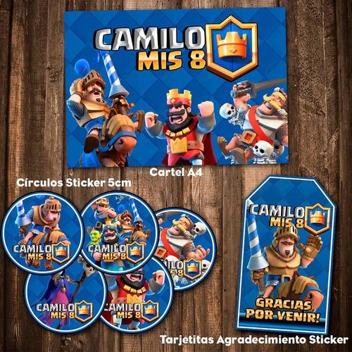 kit clash royale invitaciones stickers banderín impreso!