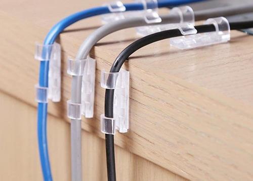 kit clip organizador de fios e cabos adesivo 20un brinde