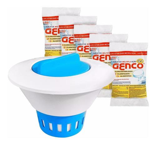 kit clorador flutuador de piscina 5 pastilhas de cloro
