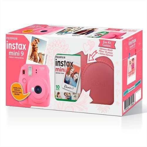 kit câmera fujifilm instax mini 9 + filme 10 + case rosa