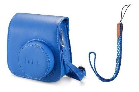 kit câmera instax mini 9 azul  +case + filme 10 poses