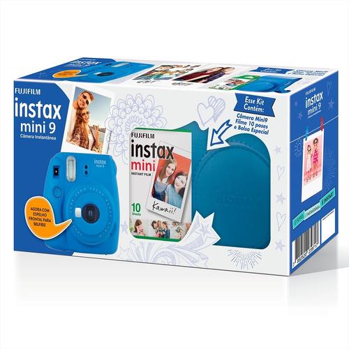 kit câmera instax mini 9 azul cobalto garantia novo