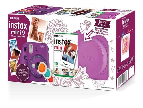 kit câmera instax mini 9 roxo açaí + bolsa + 10 fotos
