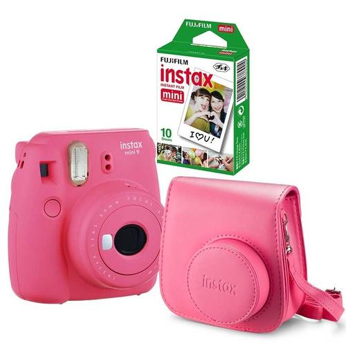 kit câmera instântanea fuji instax mini9 + filme 20 e bolsa