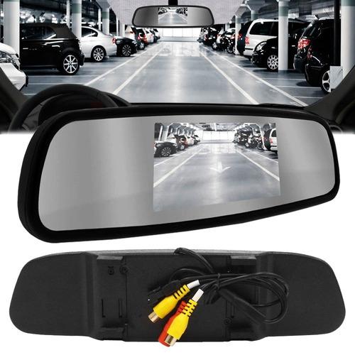 kit câmera ré visão noturna espelho retrovisor monitor lcd