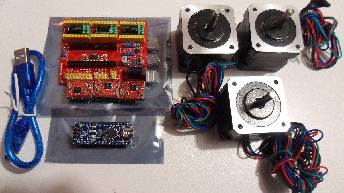 Kit Cnc Arduino Nano Shield 4 0 Motores 5kgcm Envio Gratis