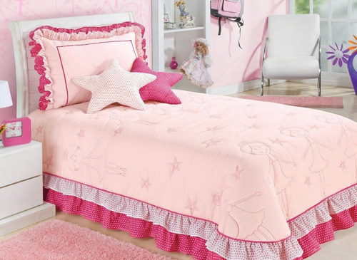 kit cobre leito bailarina solteiro infantil c\ 4 peças pink