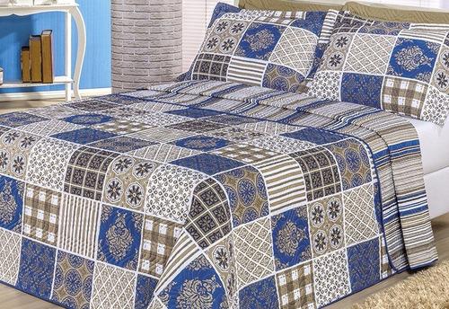 kit cobre leito casal king requinte 3 pçs azul1 -percal b*