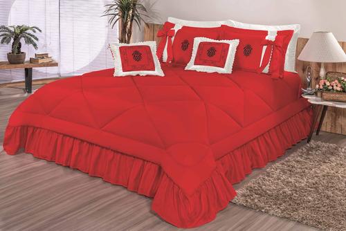 kit cobre leito casal padrão esplendore com 7 peças colcha