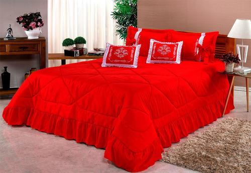 kit cobre leito casal padrão portinari 07 pçs bordado colcha