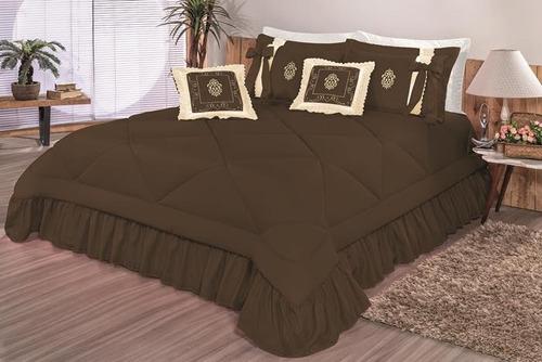 kit cobre leito casal queen esplendore bordada 07 pçs colcha