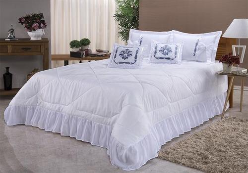 kit cobre leito casal queen portinari 7 peças bordado colcha