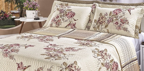kit cobre leito casal queen requinte 3 pçs floral5 percal b*