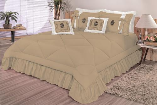 kit cobre leito charm casal queen 7 peças bordado colcha