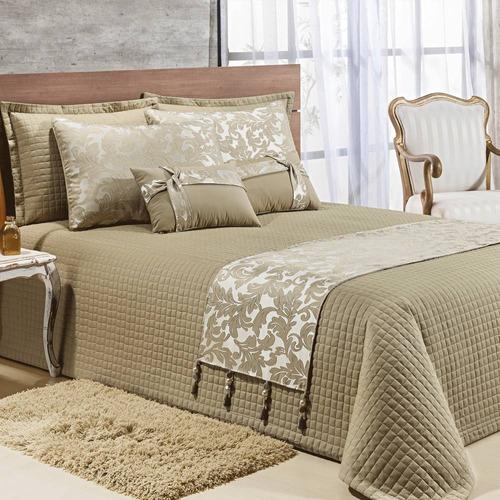 kit cobre leito colcha cama casal king 10 peças algodão