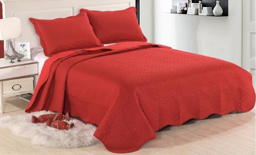 kit cobre leito colcha realce casal 3 peças sultan vermelho
