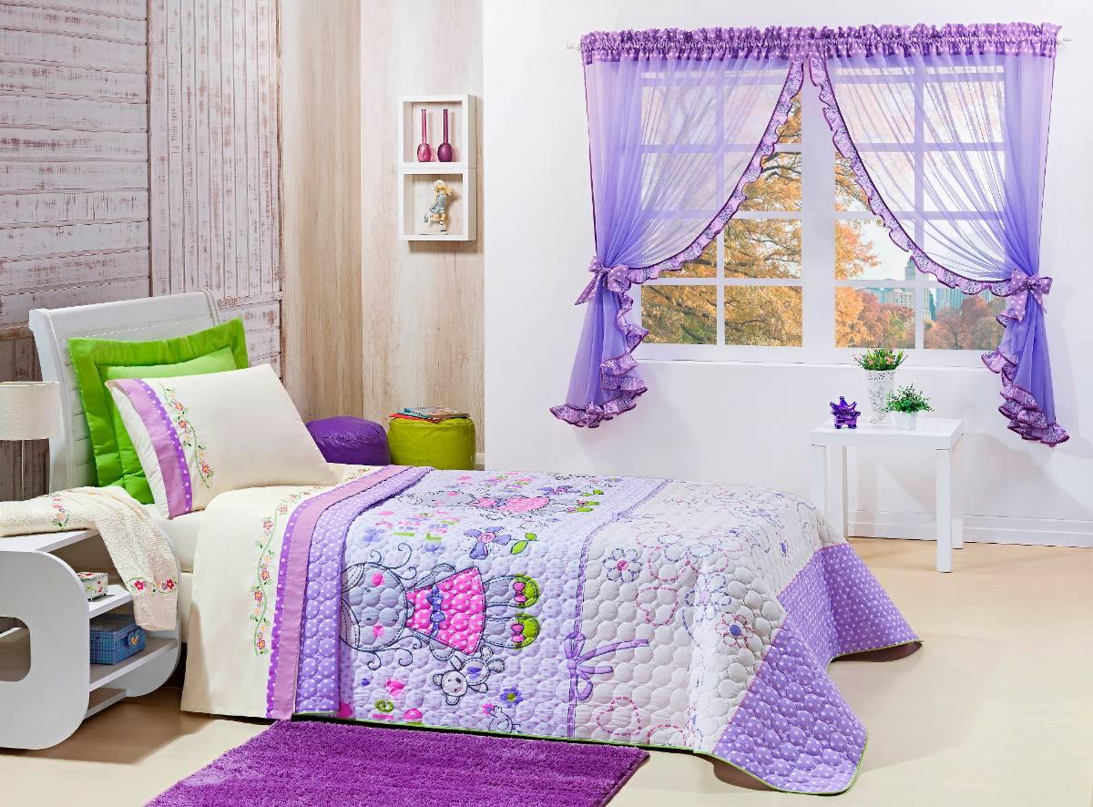 Kit cobre leito e cortina para quarto solteiro feminina - Cortinas para cama ...
