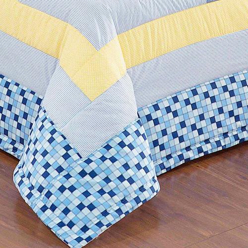 kit cobre leito infantil bordado náutico - 02 peças