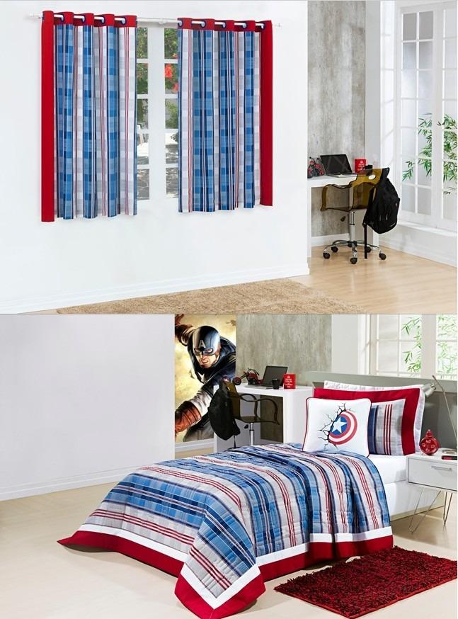 d7393f7011 kit cobre leito juvenil infantil menino e cortina quarto 2m. Carregando zoom .