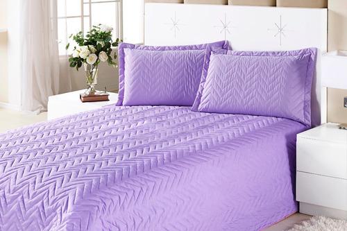kit cobre leito + lençol casal 04 peças colcha clean pink