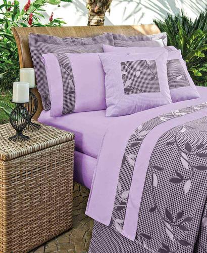 kit cobre leito + lençol turin casal lilas-linda!