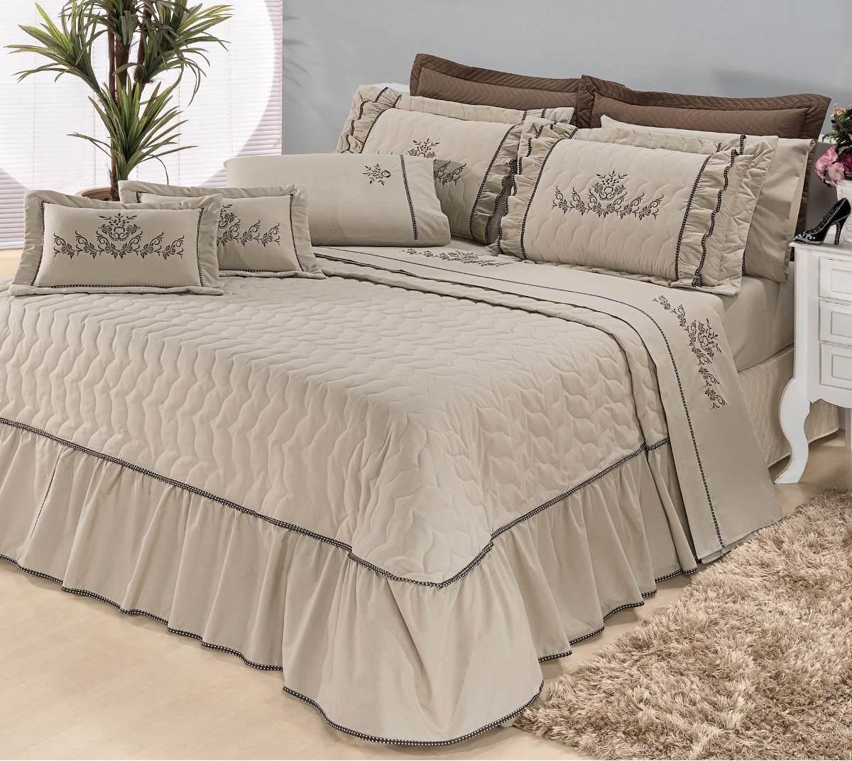 Kit cobre leito mosaico casal queen 5 pe as bordado caqui for Colchas para camas grandes