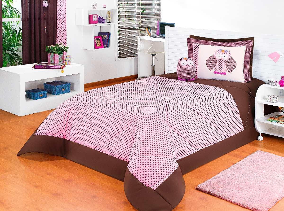 2fb24c0f52 Kit Cobre Leito Solteiro Rosa 05 Peças C  Coruja Decorativa - R  199 ...